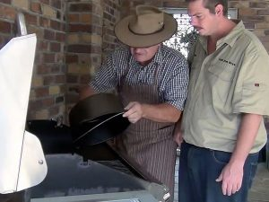 seasoning a camp oven in a hood BBQ