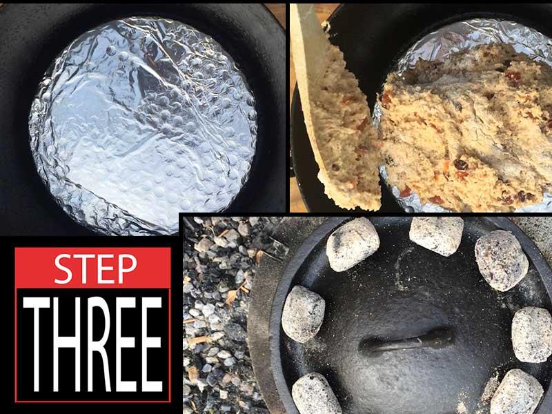 Bake Christmas damper in camp oven