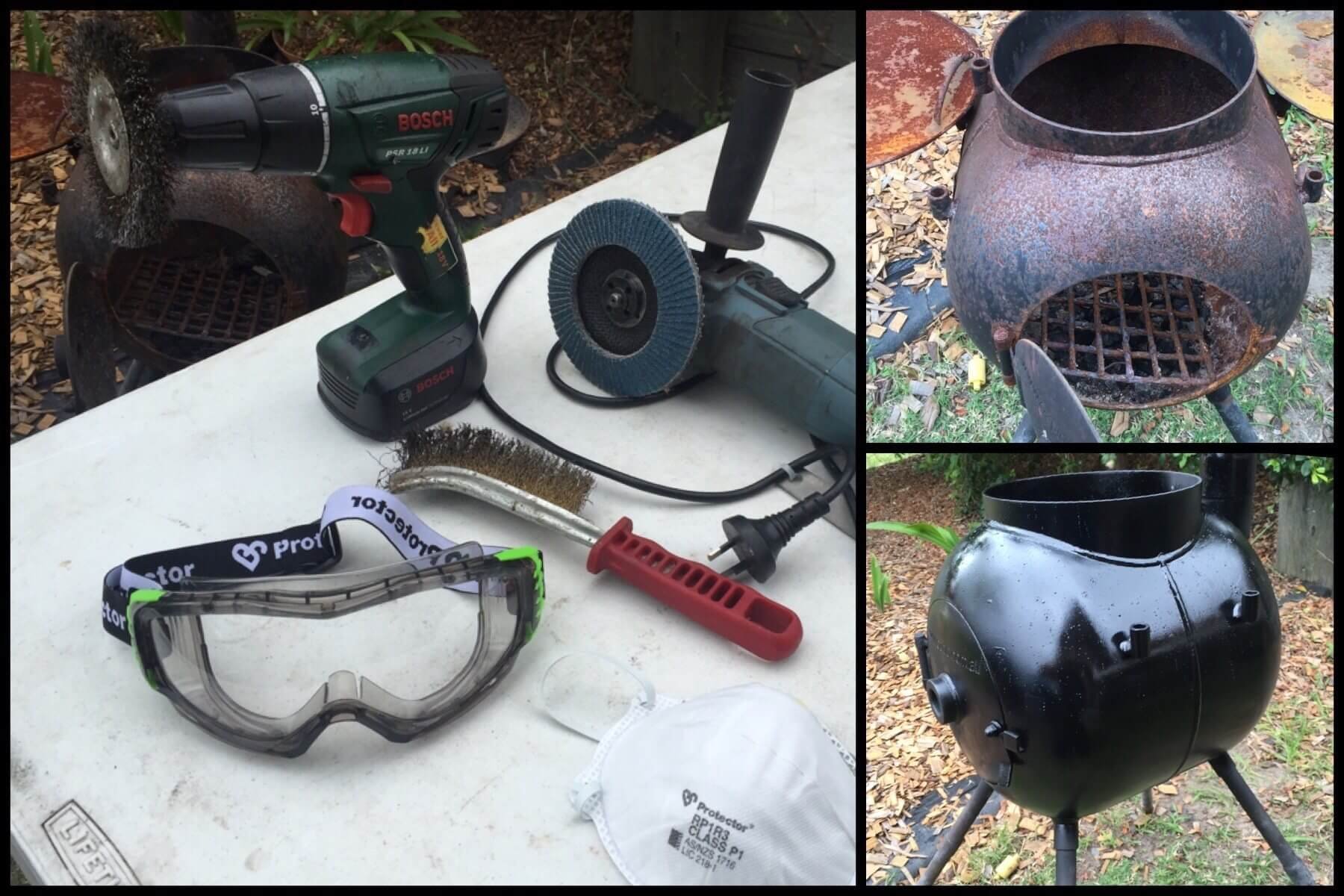 Cleaning and repainting a rusty Ozpig using hand tools
