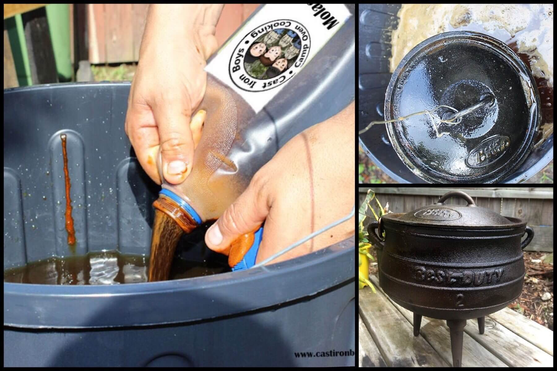 How to restore a camp oven with Molasses 1