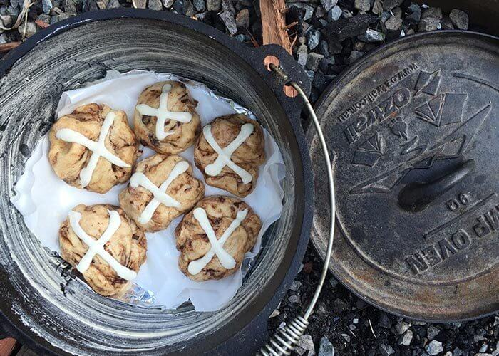 Easter Hot Cross Buns in the Camp Oven