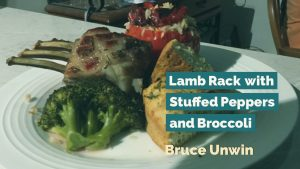 Lamb Rack with Stuffed Peppers and Broccoli