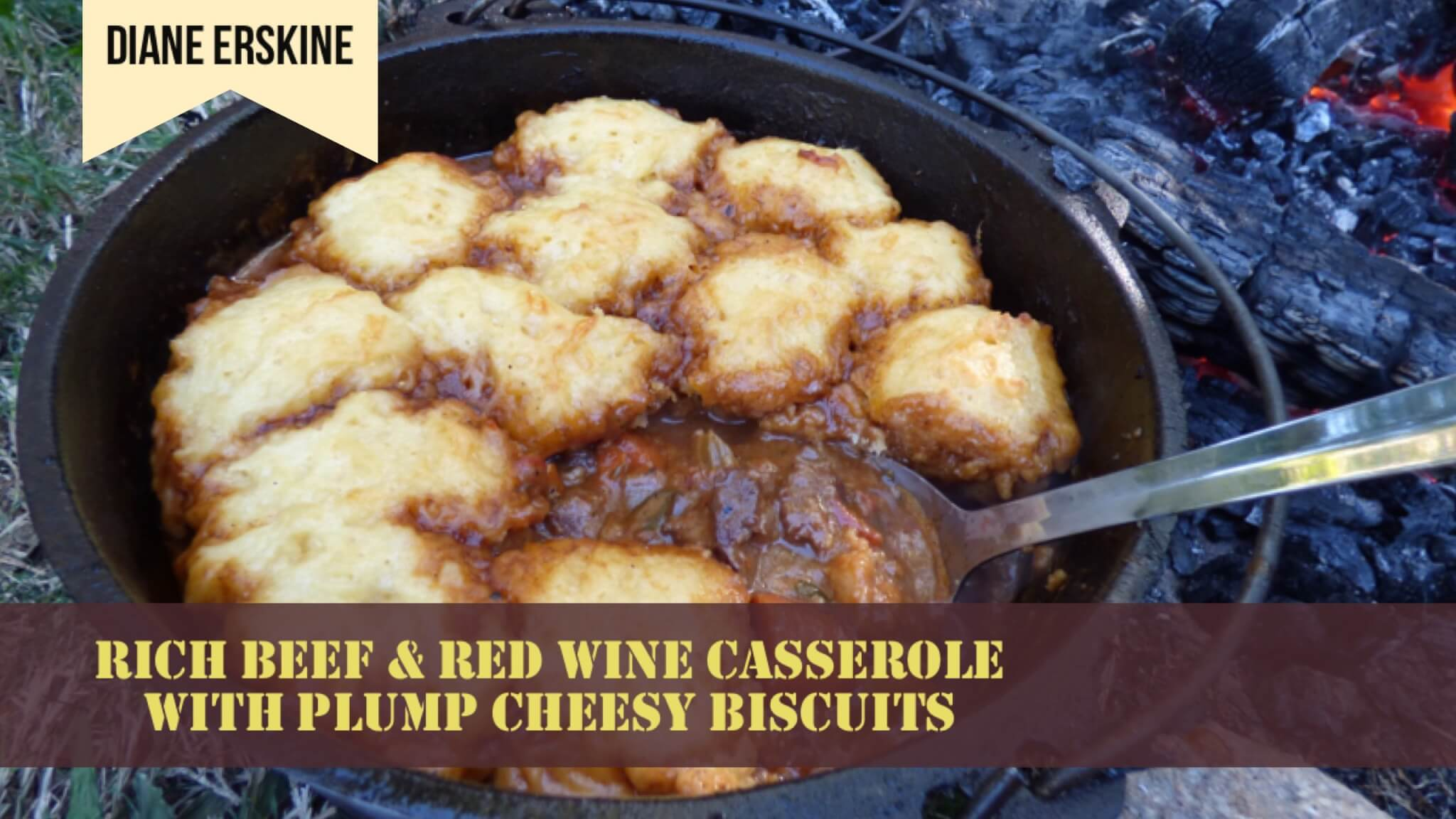 Rich Beef & Red Wine Casserole with Plump Cheesy Biscuits | Diane Erskine