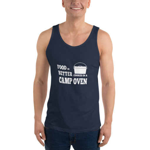 Food is Better in a cooked in a Camp Oven Unisex Singlet 5