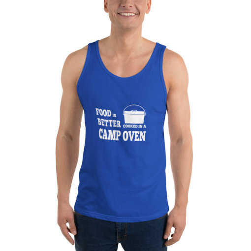 Food is Better in a cooked in a Camp Oven Unisex Singlet 6