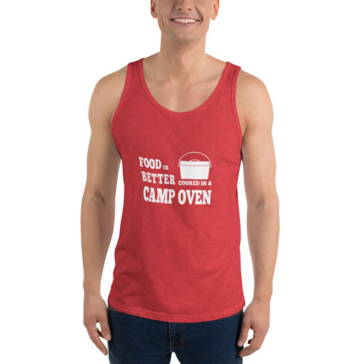 Food is Better in a cooked in a Camp Oven Unisex Singlet 8