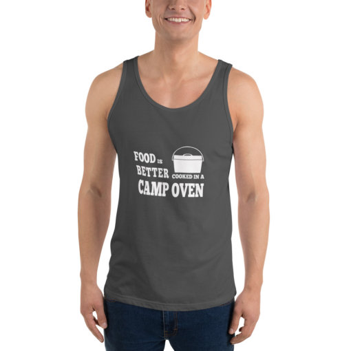 Food is Better in a cooked in a Camp Oven Unisex Singlet 4