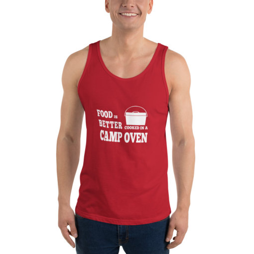Food is Better in a cooked in a Camp Oven Unisex Singlet 7