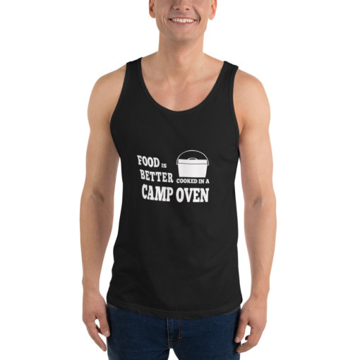 Food is Better in a cooked in a Camp Oven Unisex Singlet 1
