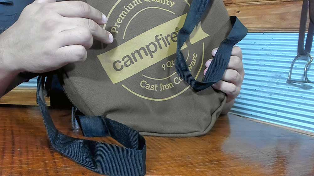 holding a camp fire camp oven bag