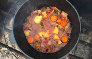 a pot od camp oven vegetable stew