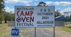 the sign on display at millmerran promoting the australian camp oven festival